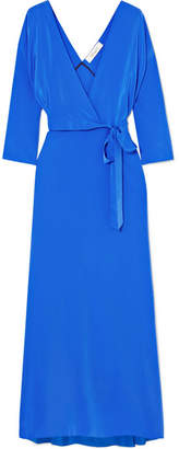 Diane von Furstenberg Silk Crepe De Chine Wrap Maxi Dress - Blue