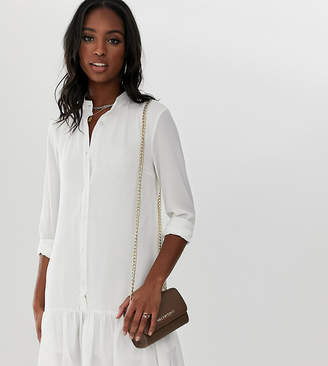 Missguided Tall shirt dress with peplum hem in white