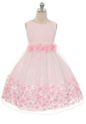 Kids Dream Olivia- Mesh Dress W/ Taffeta Flowers Pink