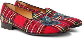 Gucci Gallipoli Appliqued Tartan Tweed Loafers - Men - Red