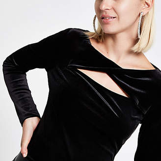 River Island Black velvet twist long sleeve top