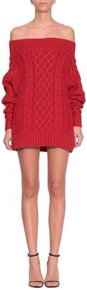 Self-Portrait Off Shoulder Oversized Knit Dress