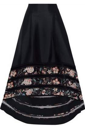 Sachin + Babi Picot-Trimmed Lattice Floral Print-Paneled Satin-Twill Maxi Skirt