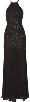Halston Pleated Sequined Georgette Gown