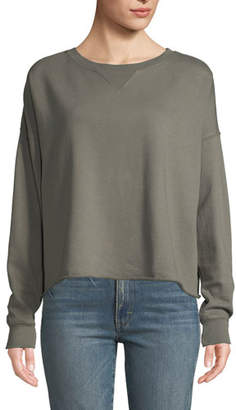 Amo Denim Cropped Raw-Edge Pullover Sweatshirt