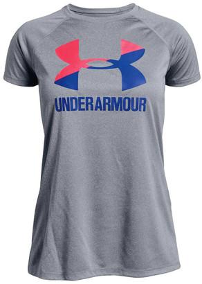 Under Armour Girls Big Logo Solid Tee