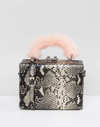 Asos Design HERO Faux Fur Handle Metallic Snake Box Bag With Detachable Strap