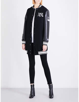 Boy London Ladies Black Tape-Print Wool-Blend Varsity Jacket