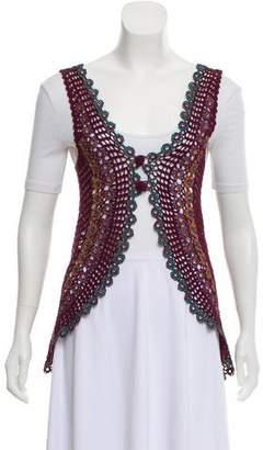Philosophy di Alberta Ferretti Crocheted Open-Front Vest