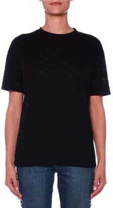 Stella McCartney Crewneck Short-Sleeve Monogram-Burnout T-Shirt