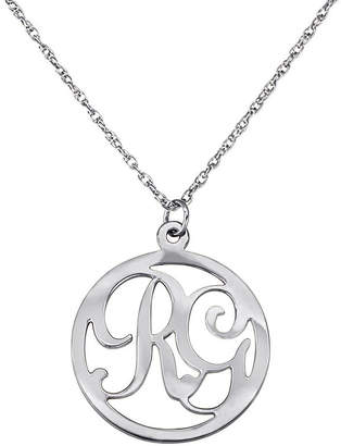 FINE JEWELRY Personalized Two Initial Sterling Silver Circle Pendant Necklace