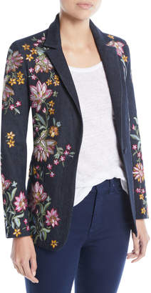 Alice + Olivia Macey Embroidered Notch-Collar Blazer