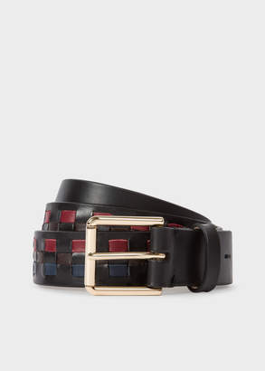 Paul Smith Men's Black Woven Check Leather Belt