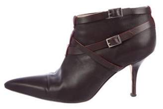 Manolo Blahnik Leather Pointed-Toe Ankle Boots Brown Leather Pointed-Toe Ankle Boots