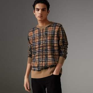 Burberry Scribble Check Merino Wool Sweater