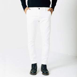 DSTLD Mens Skinny-Slim Selvedge Chino Pant in White