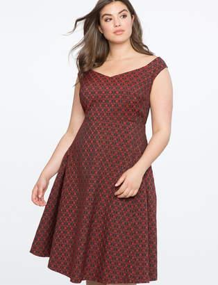 ELOQUII Sleeveless Jacquard Fit and Flare Dress