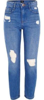 River Island Girls blue Bella ripped straight leg jeans