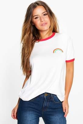 boohoo Petite Rainbow Logo Binding T-Shirt