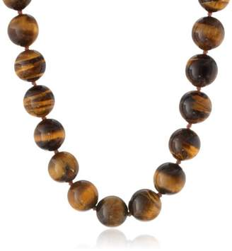 14k Yellow Gold 14mm Tiger-Eye Bead Necklace