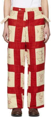 Bode Multicolor Patchwork Side Tie Trousers