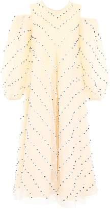 Ganni Patterned Embellished Cold-Shoulder Dress