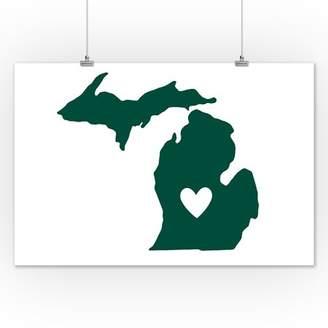 Michigan - State Outline & Heart - Lantern Press Artwork (12x18 Art Print, Wall Decor Travel Poster)