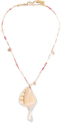 Etro Shell, Faux Pearl And Crystal Necklace - Beige