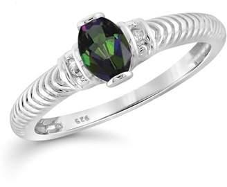 JewelersClub 0.46 Carat T.G.W. Mystic Topaz Gemstone and White Diamond Accent Ring