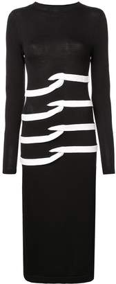 Nicole Miller intarsia mock-neck dress