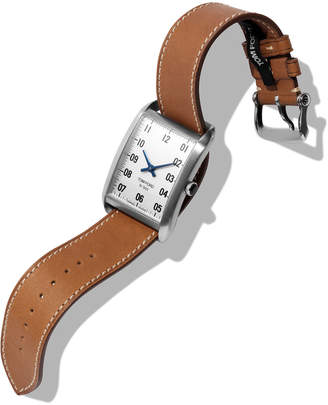 Tom Ford Timepieces Men's 44x30 Calf-Leather Large Watch, White/Brown