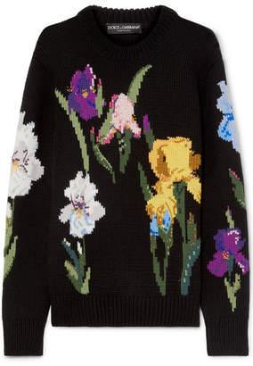 Dolce & Gabbana Embroidered Floral-intarsia Wool Sweater - Black