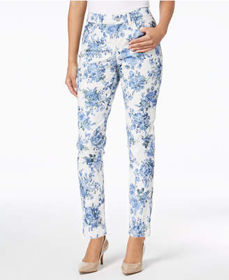 Charter Club Bristol Floral-Print Tummy-Control Ankle Skinny Jeans, Created for Macy's