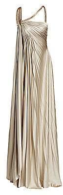 Oscar de la Renta Women's Asymmetric Chain Strap Column Gown