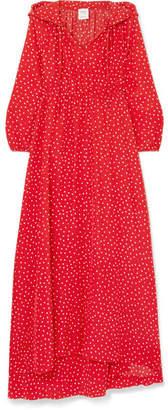 Vetements Hooded Printed Silk Crepe De Chine Maxi Dress - Red