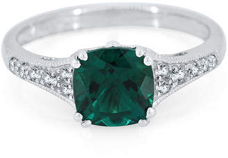 FINE JEWELRY Lab-Created Emerald & Lab-Created White Sapphire Sterling Silver Ring