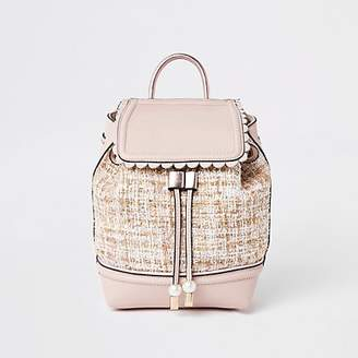 River Island Girls pink boucle backpack