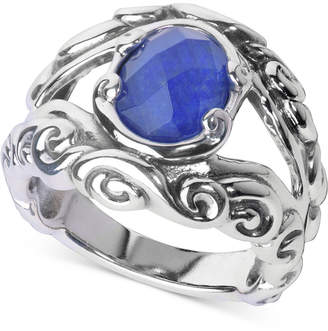 Lapis Carolyn Pollack Lazuli/Rock Quartz Openwork Statement Ring (3 ct. t.w.) in Sterling Silver