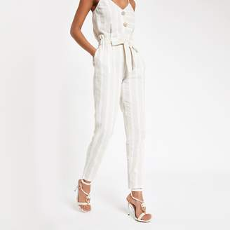 River Island Womens Beige stripe paperbag peg trousers