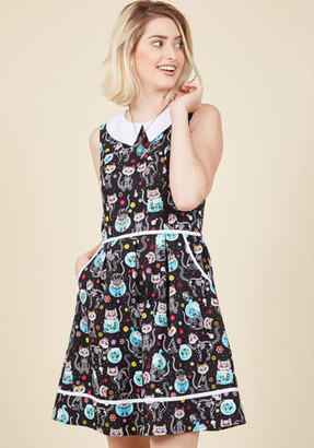 ModCloth Rad to the Bone A-Line Dress in Feline in XS $89.99 thestylecure.com