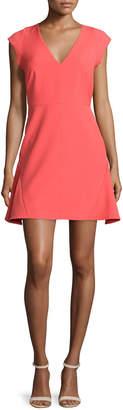 Halston Cap-Sleeve Fit-&-Flare Dress, Melon