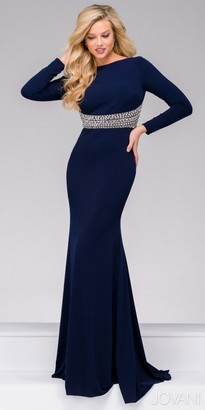 Jovani Fitted Long Sleeve Embellished Keyhole Evening Dress $640 thestylecure.com