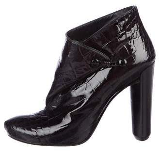 Louis Vuitton Embossed Patent Leather Pointed-Toe Booties