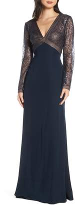 Tadashi Shoji Sequin & Crepe Long Sleeve Evening Dress