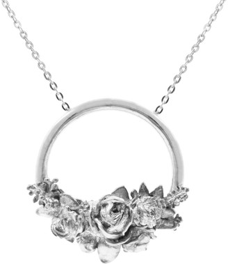 Lee Renee Rose Halo Necklace - Silver