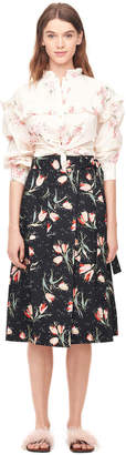 Rebecca Taylor Ikat Tulip Poplin Wrap Skirt