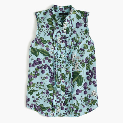 J.Crew Sleeveless ruffle button-up in Ratti® fruity floral print