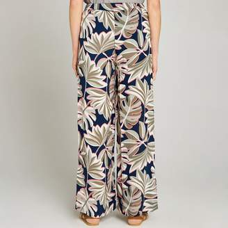 Apricot Navy Palm Leaf Palazzo Trousers