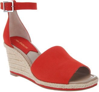 Enzo Angiolini Leather Espadrille Wedges - Petrina