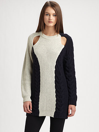 3.1 Phillip Lim Boxy Cable-Knit Sweater
